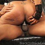 Big Tits Ebony Gets Throat Fucked By Two Black Cocks