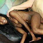 Petite Teenage Ebony Whore Jazmine James Gets Her Throat Destroyed