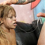 Ghetto Black Whore Jezabelle Face Fucked and Sprayed With Jizz