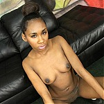 Hot Ebony Stripper Whore Gags and Chokes On A Big White Cock