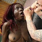 Black Bitch Alexis Mitchell Gets Her Throat Pounded By White Cock