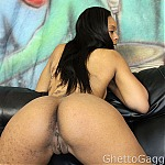 Big Booty Black Girl Sapphire Gets Her Throat Fucked By White Cock