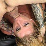 Blonde Milf Whore Avona Dominica Gets Her Throat Pumped With Two Cocks